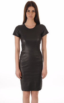 Robe cuir stretch noir1