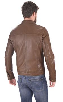 Blouson Agent cuir marron