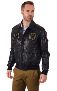 Blouson Cuir Bleu Aviation Italienne