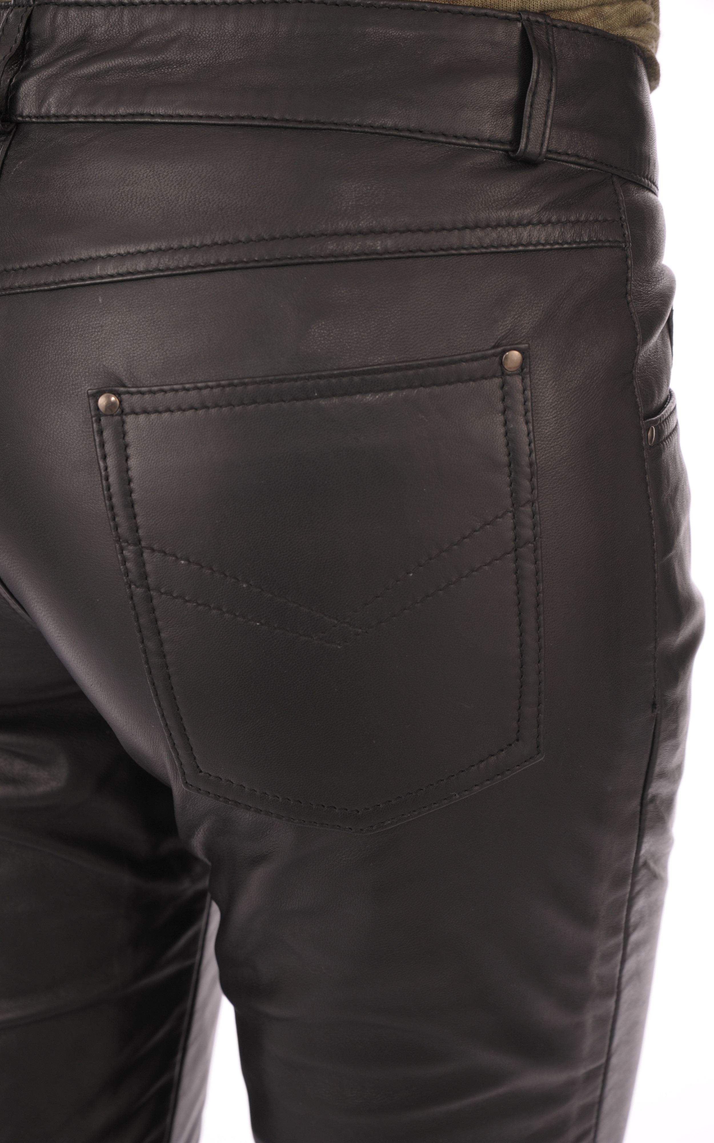 Pantalon En Cuir Noir Femme Giorgio