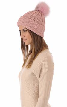 Bonnet laine et fourrure rose1