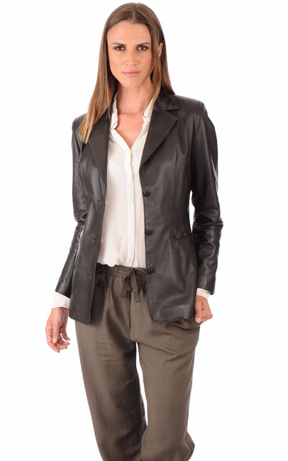 blazer cuir agneau femme la canadienne la canadienne veste 3 4 cuir marron. Black Bedroom Furniture Sets. Home Design Ideas
