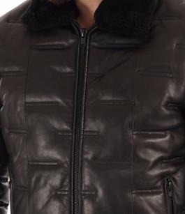 Doudoune courte agneau noir Serge Pariente