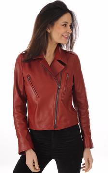 Blouson en cuir rouge femme1