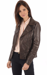 Blouson style Perfecto Juliette marron