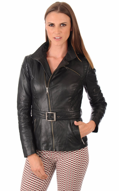 veste cuir femme trovels la canadienne veste 3 4 cuir noir. Black Bedroom Furniture Sets. Home Design Ideas