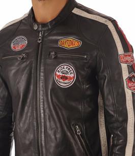 Blouson Cuir Noir Style Motard  Noir Daytona 73