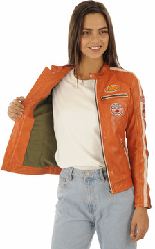 Blouson motard orange