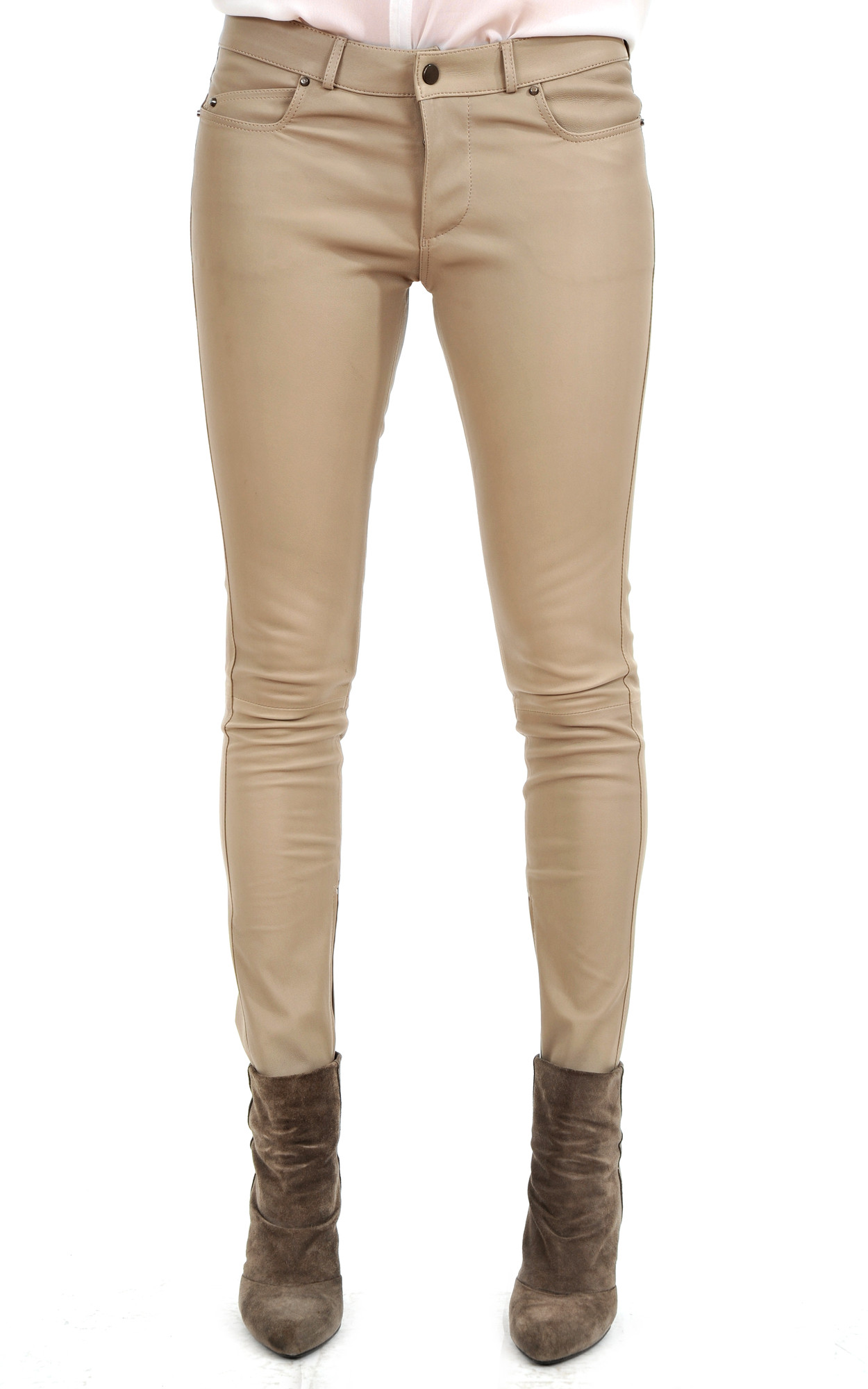 Pantalon Slim Cuir Stretch Beige1