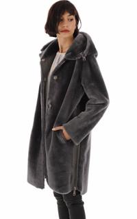 Manteau réservible peau lainée grise anthracite