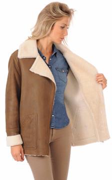Veste peau lainée mouton marron