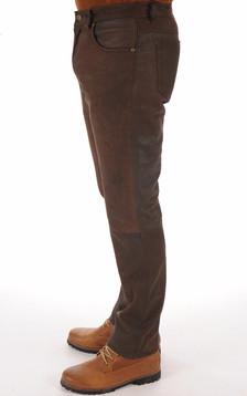 Pantalon agneau nubuck marron