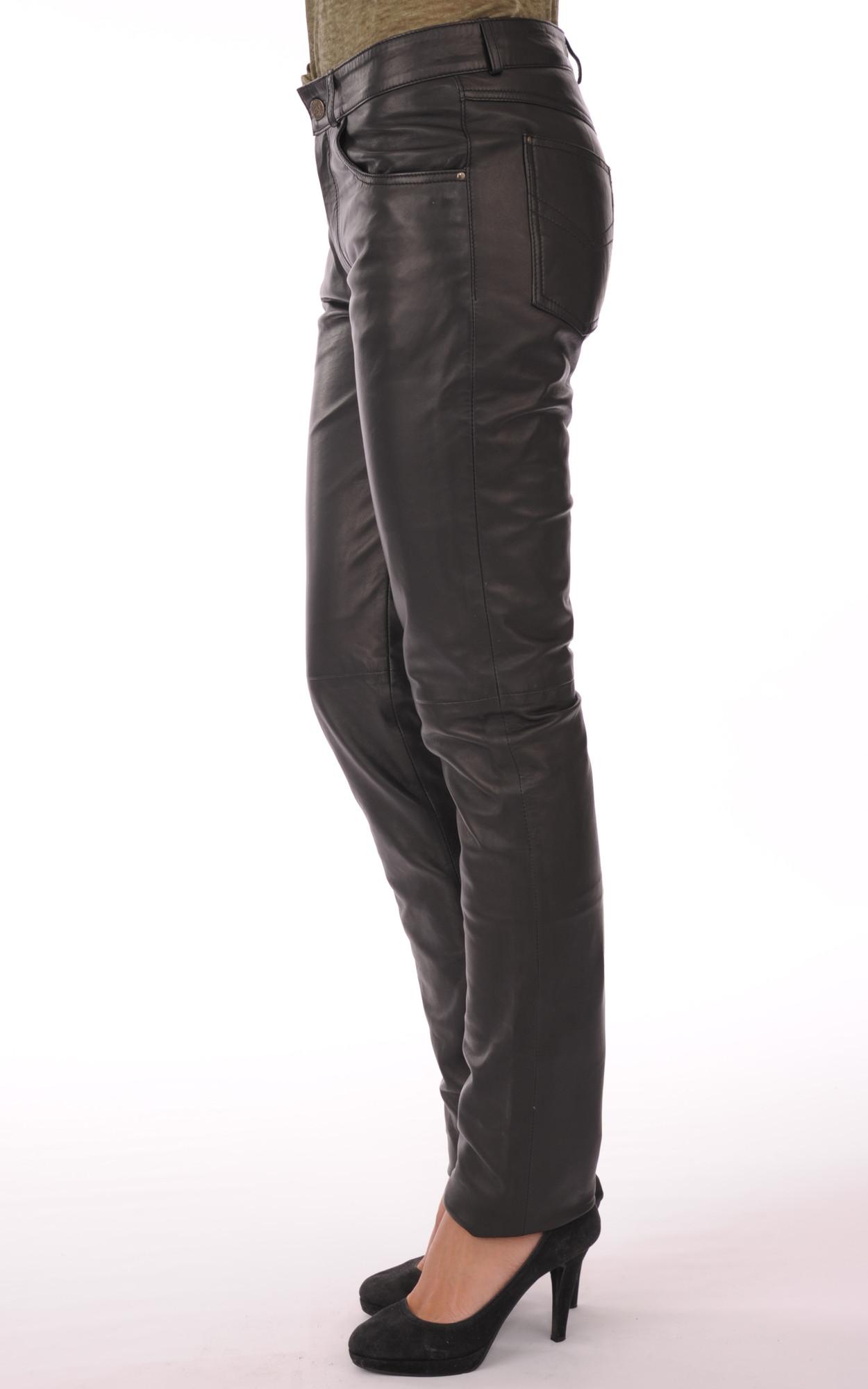 Pantalon En Cuir Noir Femme