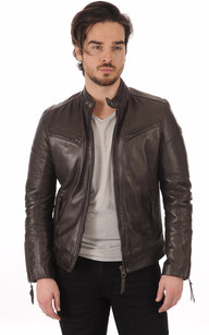 Blouson Cuir Marron Lynch1