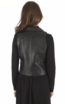 Gilet veston cuir noir