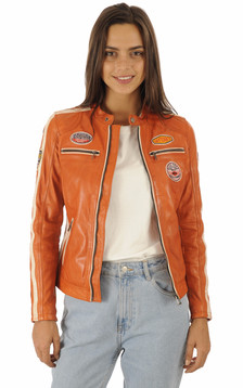 Blouson motard orange