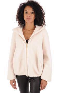 Veste en laine à capuche blanc cassé1