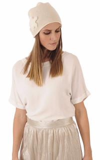 Bonnet Blanc Laine & Vison