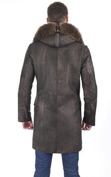 Manteau chic agneau et marmotte taupe