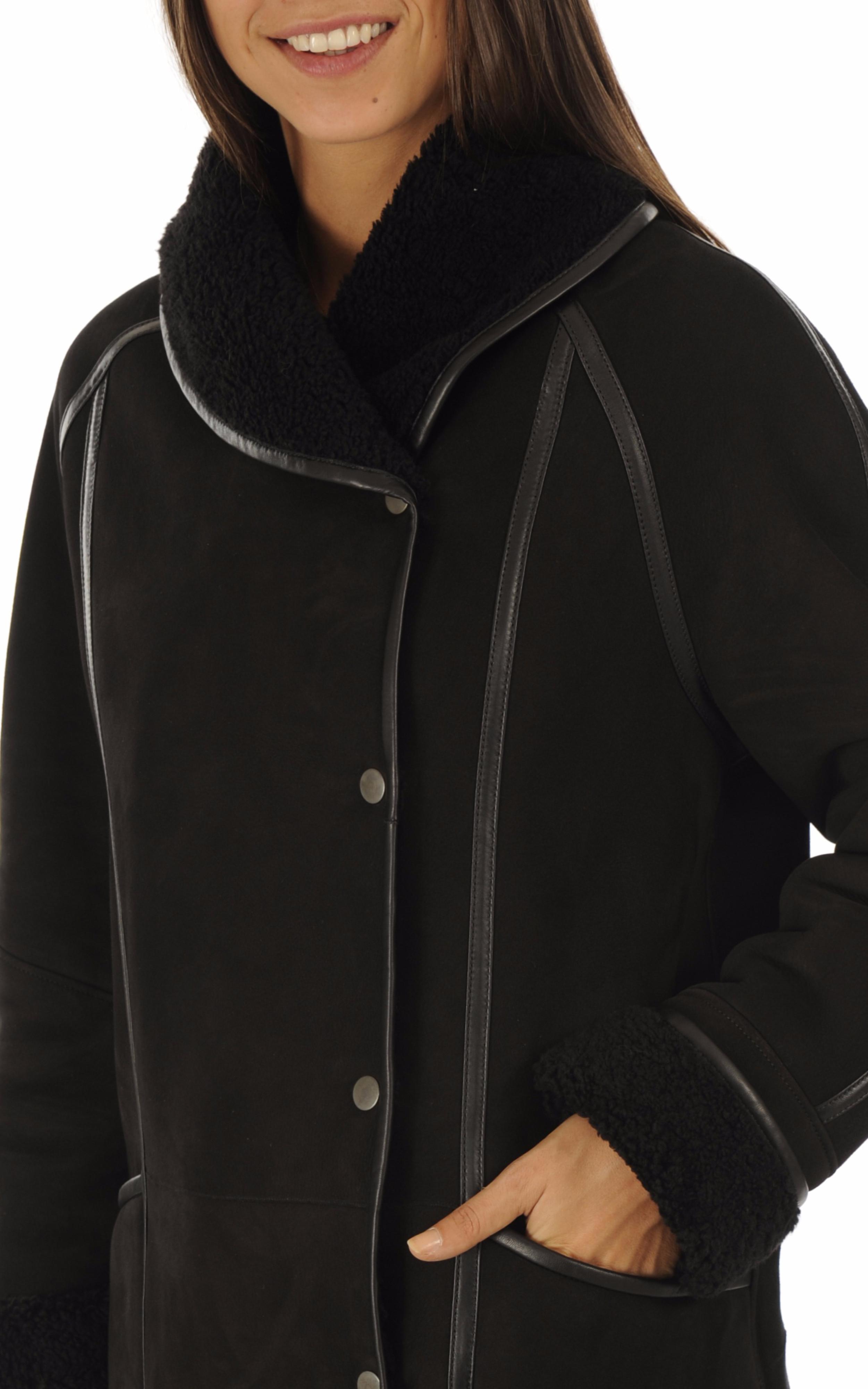 Manteau agneau noir esprit vintage La Canadienne