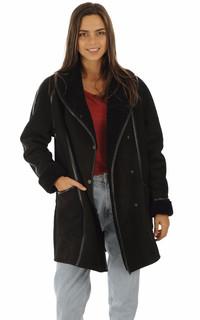 Manteau agneau noir esprit vintage