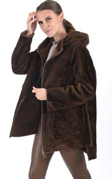 Veste réversible en laine d'agneau cognac