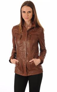 Veste en cuir femme couleur