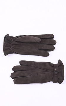 Gants cuir velours marron