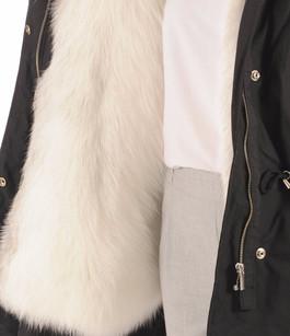 Parka Noire Textile et Fourrure Flo&Clo