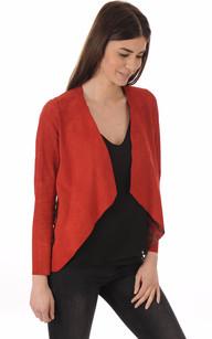 Veste Ouverte Cuir Velours Rouge1