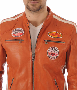 Blouson Cuir Orange Style Motard Daytona 73