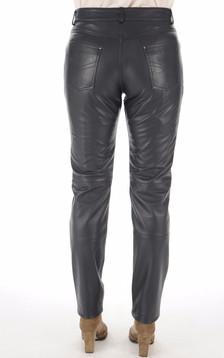 Pantalon en cuir marine femme