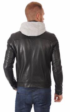 Blouson Cuir Noir Alpha Hood
