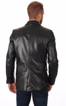Blazer Cuir Noir Homme