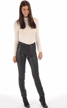 Pantalon cuir stretch noir femme