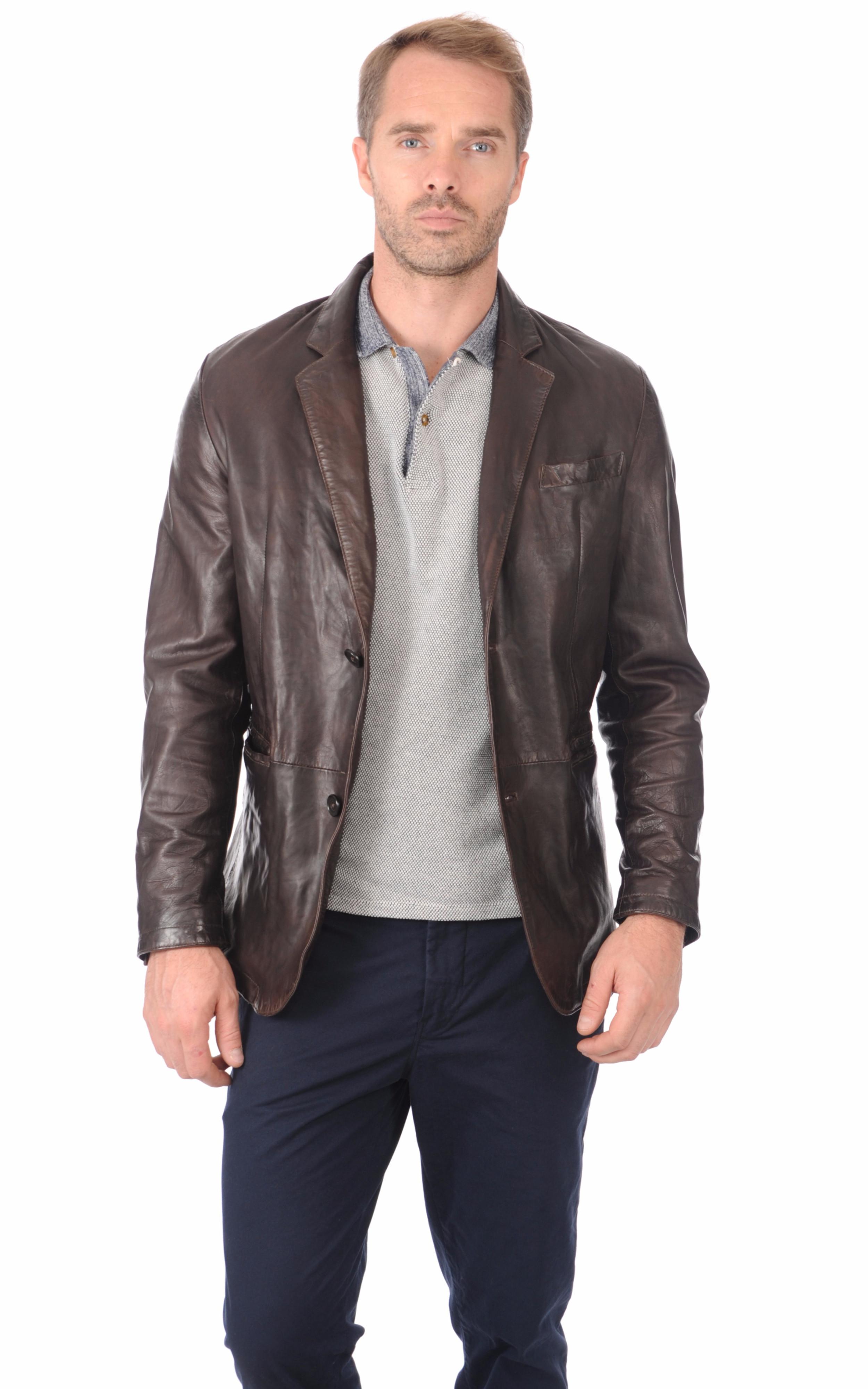 blazer cuir marron homme daytona la canadienne veste 3 4 cuir marron. Black Bedroom Furniture Sets. Home Design Ideas
