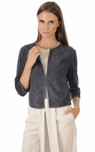 Veste Spencer Cuir Velours Bleu1