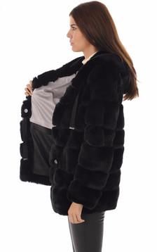 Veste lapin rex noir femme