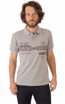 Polo Gris Chiné Patch Aero