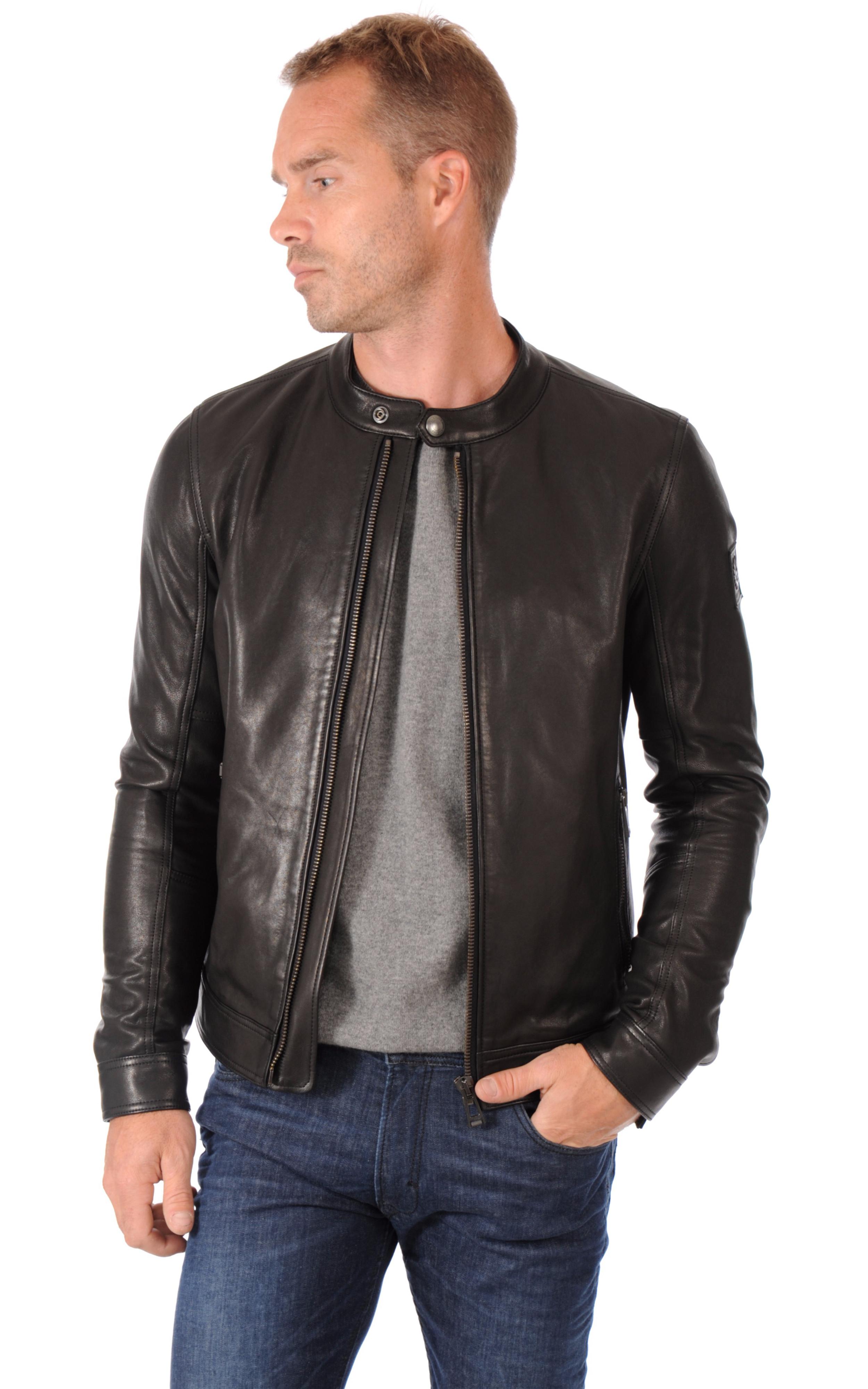 blouson cuir homme coupe motard belstaff la canadienne blouson cuir noir. Black Bedroom Furniture Sets. Home Design Ideas