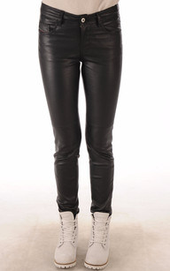 Pantalon Slim Cuir Stretch Noir1