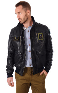 Blouson Cuir Bleu Aviation Italienne1