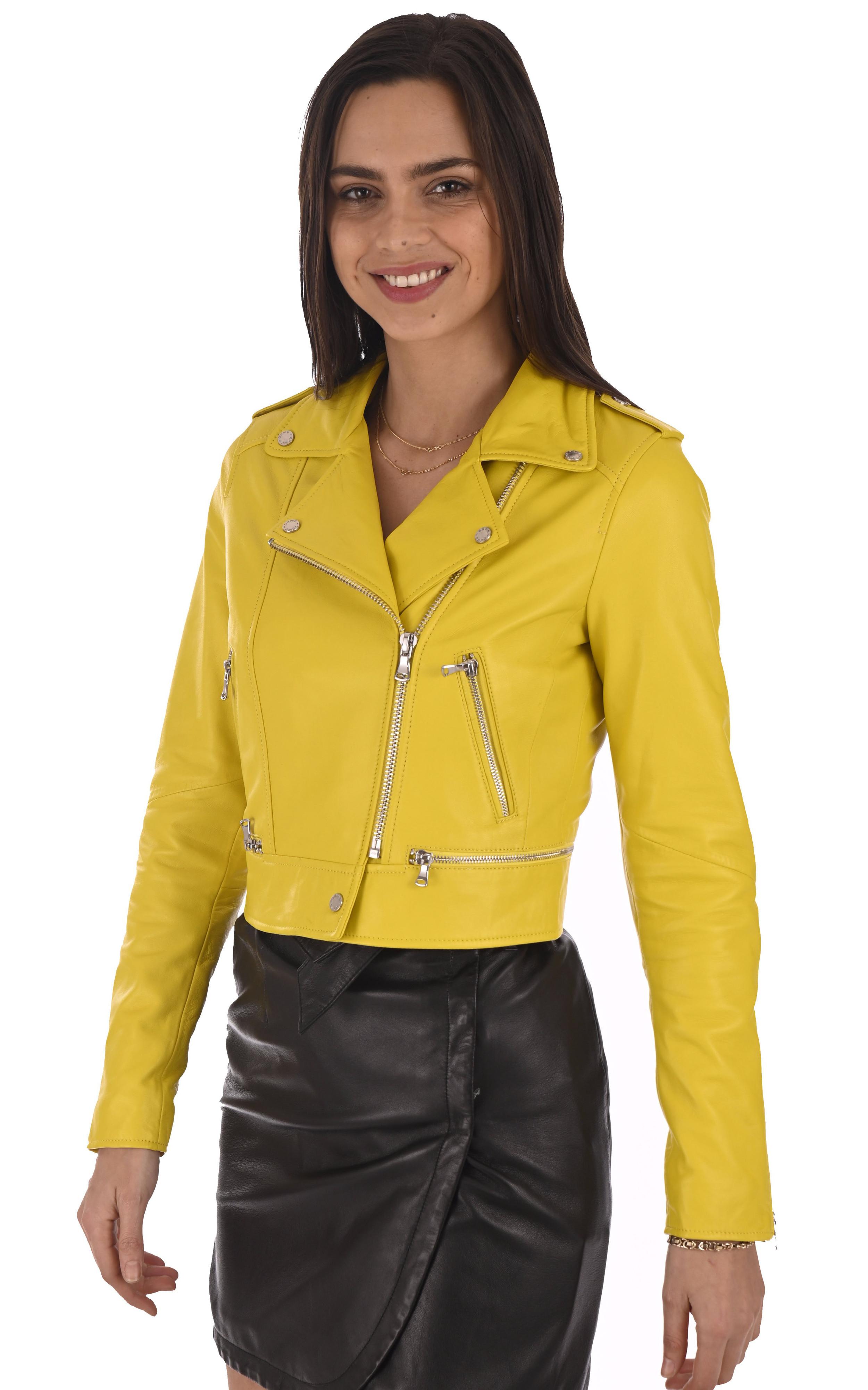 Blouson Yoko en cuir jaune Oakwood