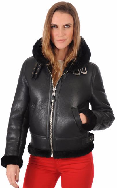 bombardier femme lcw1257h noir schott la canadienne blouson peau lain e noir. Black Bedroom Furniture Sets. Home Design Ideas