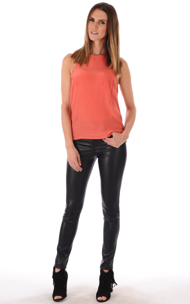 pantalon slim cuir stretch femme collection griffes la canadienne pantalon agneau stretch noir. Black Bedroom Furniture Sets. Home Design Ideas