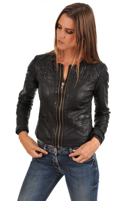 blouson be48065 noir ikks la canadienne blouson cuir noir. Black Bedroom Furniture Sets. Home Design Ideas