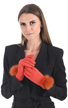 Gants cachemire et renard orange