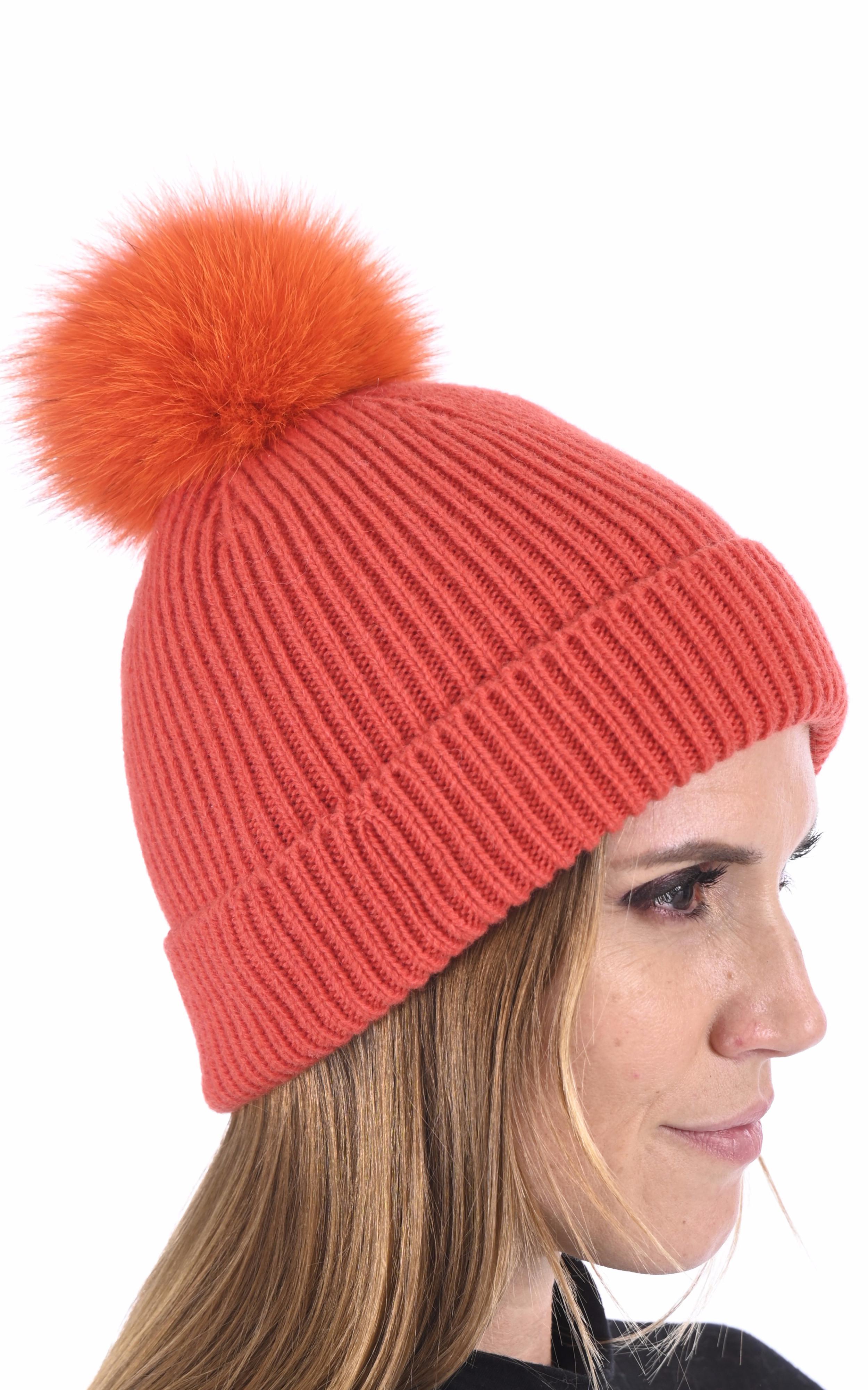 Bonnet cachemire et renard orange Lea Clement