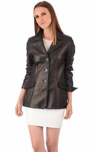 Veste Cuir Femme Coupe Blazer1