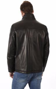 Veste Confortable Cuir Noir Homme